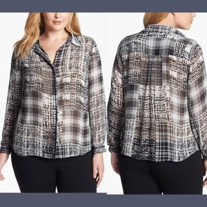 NWT Vince Camuto Faux Leather Trim Blouse Top 1X